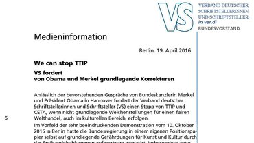 Medieninformation vom 19. April 2016 | VS Fachgruppe Literatur der ver.di